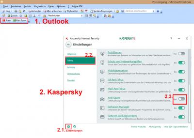 Aktivieren von Anti-Spam in Kaspersky Internet Security